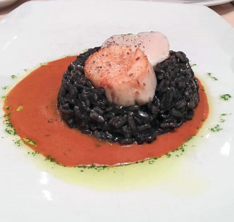 Capannina's Risotto Nero Seared Scallops